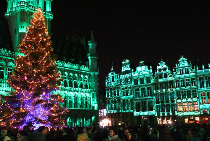 Klank- en lichtspel Grote Markt Winterpret Brussel 2019